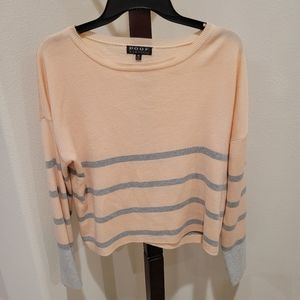 Poof New York coral & grey sweater, size M